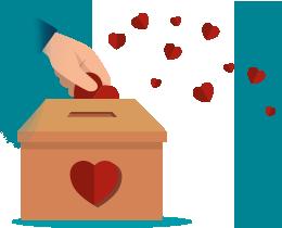 Uma mão colocando corações dentro de uma caixa de doação